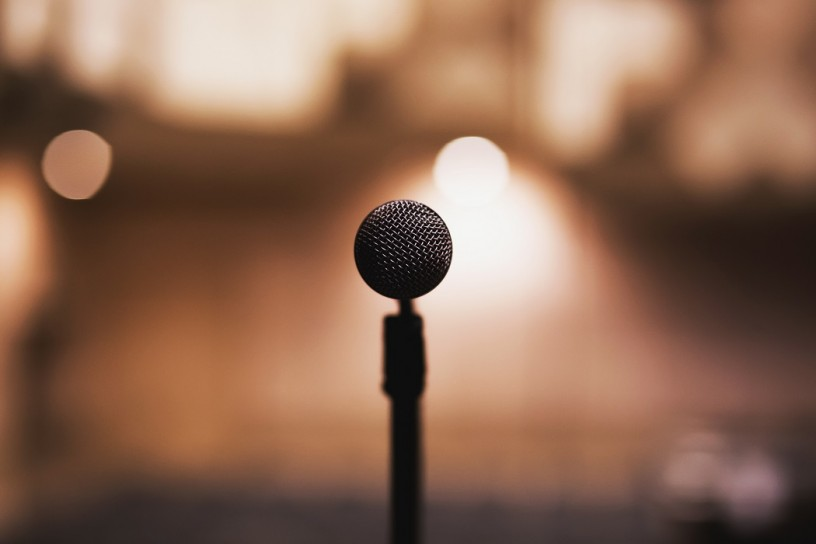 microphone set up for pitch on stage