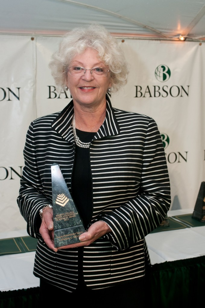 Professor Candida Brush has been awarded many accolades throughout her career. This particular award was given by the Babson College Alumni Association in 2012.