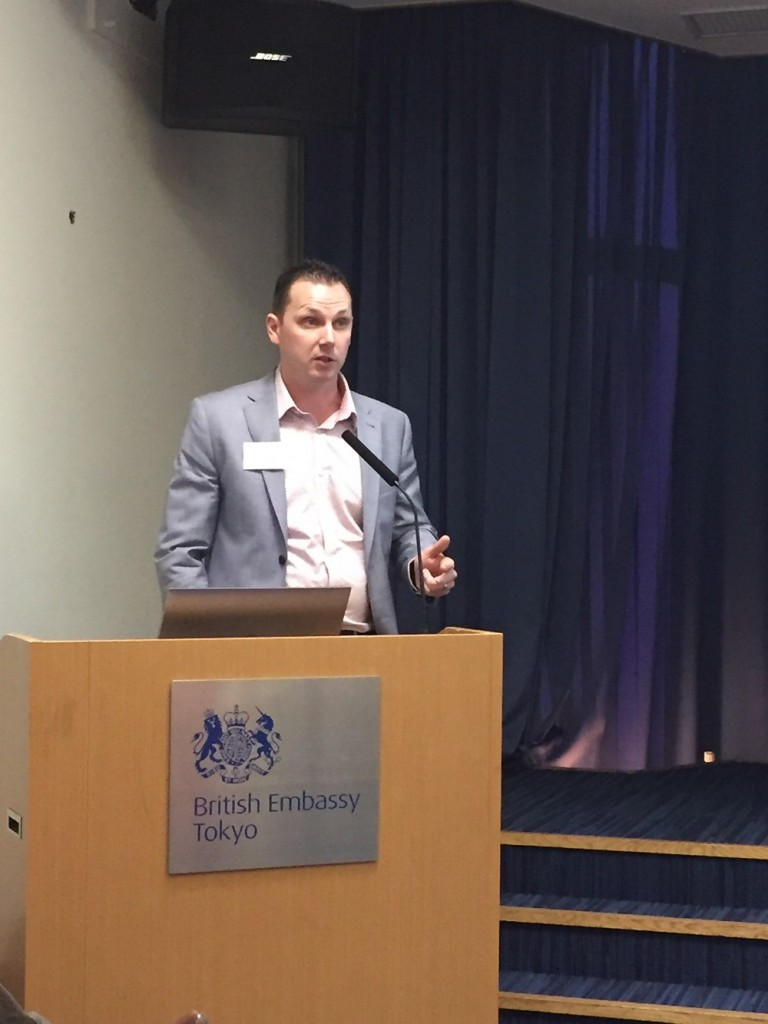Jon Powell speaking at Japan British Council
